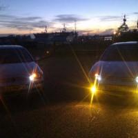 Twee keer VW Golf 4 met USLights