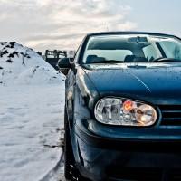 Golf 4 met USLights bij sneeuw