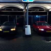 Civics vers gewassen met USLights in beide auto's