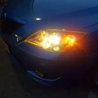 Mazda 3 Blue USLights close up BBS
