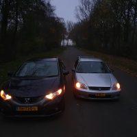 Twee Honda Civics met USLights